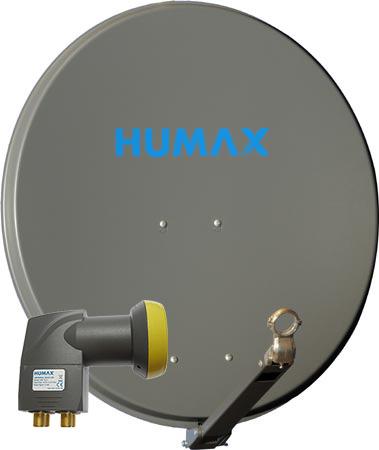 Humax Prof. 75 cm + Quad LNB HQ Alu Satellitenspiegel mit Quad Universal LNB