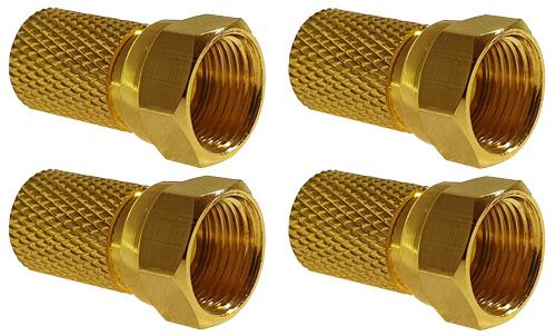 sky vision F-Stecker vergoldet, 8 mm, 4 Stück